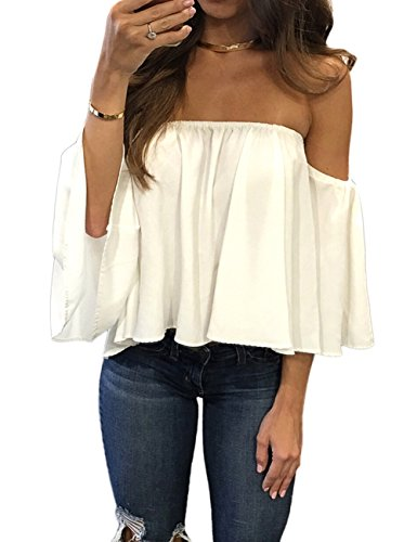 Sanifer Women Sexy Off The Shoulder Tops Summer Chiffon Blouses Crop Tops for Ladies Teens Juniors (Small, White)