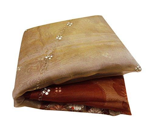 Peegli Vintage Saree Indian Organza Net Used Fabric DIY Recycled Curtain Drape Beige Embroidered Party Wear Sari
