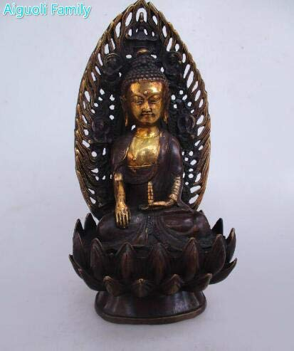 (VietGT Brass Statue - Rare Archaize Sculptures,Pure Brass Gilded Buddha Statues,Lotus Tables,Avalokitesvara Bodhisattva Statues, Many Styles - by GTIN - 1 Pcs - Tiny Buddha Statue)
