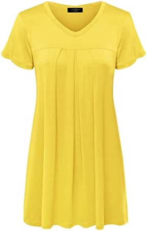 MBJ Womens V Neck Short Sleeve Pleats Tunic Top - Made in USA