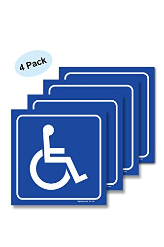 (4 Pack) Handicap Stickers - Disabled Wheelchair Vinyl Decal Sticker Stickers, Disability Sign, For Indoor or Outdoor Use - By SIGO SIGNS