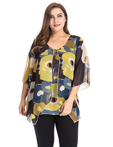 Chicwe-Womens-Multi-Flowers-Woven-Plus-Size-Top-Blouse-with-Metal-Trim-and-Bell-Sleeves-1X-4X