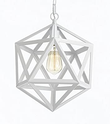 Wrought Iron Polyhedron Vintage Barn Metal Pendant Chandelier Industrial Loft Rustic Lighting H14 W12