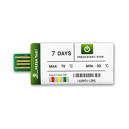 2pack Freshliance Fresh Tag1 USB Temperature Recorder Graph 7 Days 1//2//3//10//20//50//100 Pack Single Use Pdf Temperature Data Logger Tracker Cold Chain Shipping Transportation No Setup No Software