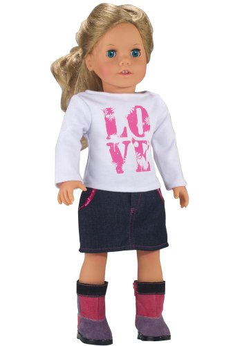 LOVE Shirt and Sequin Trim Denim Skirt, Fits 18 inch dolls