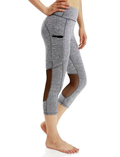 Alsol Lamesa Tummy Control Capri Yoga Leggings with Pockets for Women Mesh Workout Running Sport Pants