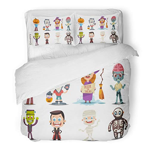 Tarolo Bedding Duvet Cover Set Halloween Kids Costumes Pumpkin Vampire Werewolf Zombie Witch Broom Mummy and Skeleton Cartoon of Cute Boy Girl 3 Piece King 104