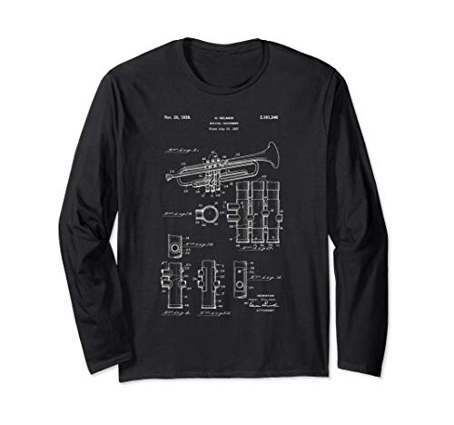 Trumpet Musical Instrument Patent Long Sleeve T-Shirt (25 Or 6 To 4 Trumpet Sheet Music)