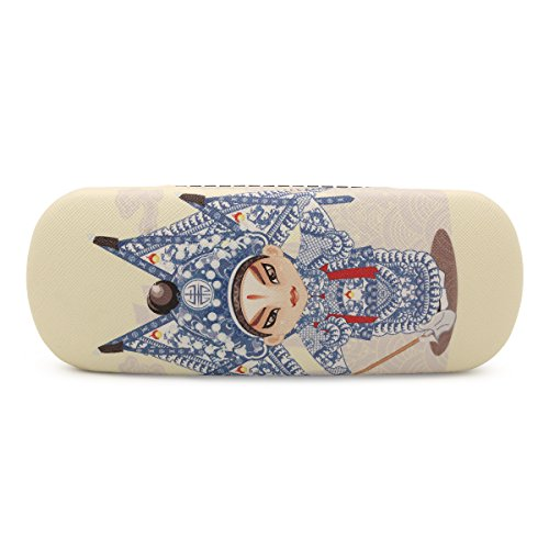 NiceShop16 Cute Cartoon Peking Opera Pattern Hard Eyeglass Case Glasses Box (Beige)