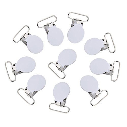 Pacifier Clips, 10pcs Metal Round Suspender Snap Pacifier Strap Holder for DIY Making Leather Craft(White)