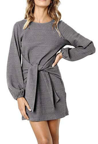 R.Vivimos Women's Autumn Winter Cotton Long Sleeves Elegant Knitted Bodycon Tie Waist Sweater Pencil Dress (Large, Dark Gray)