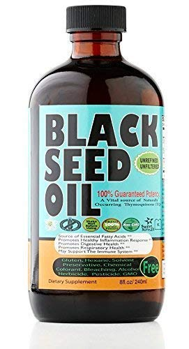 Premium Black Seed Oil Liquid - 2.20%+ Thymoquinone Strong Pungent Flavor Cold Pressed Source of Omega 3 6 9 Black Cumin Seed Oil from 100% Genuine Nigella Sativa - 8 oz Glass Bottle by Sweet Sunnah