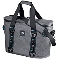 Monoprice Emperor Portable Soft Cooler - 20 Can - Gray | Waterproof Exterior, IPX7-Rated Zippers Ideal for Camping, Fishing, BBQ - Pure Outdoor Collection
