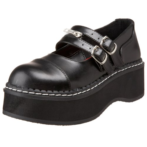 Demonia By Pleaser Women's Emily-306 Mary Jane Flat,Black Polyurethane,8 M US