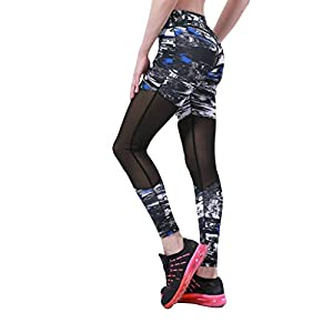 Goosuny High Waist Yoga Pants Printed Mesh Patchwork Tummy Control Stretch Workout Running Yoga Leggings Tights Athletic…