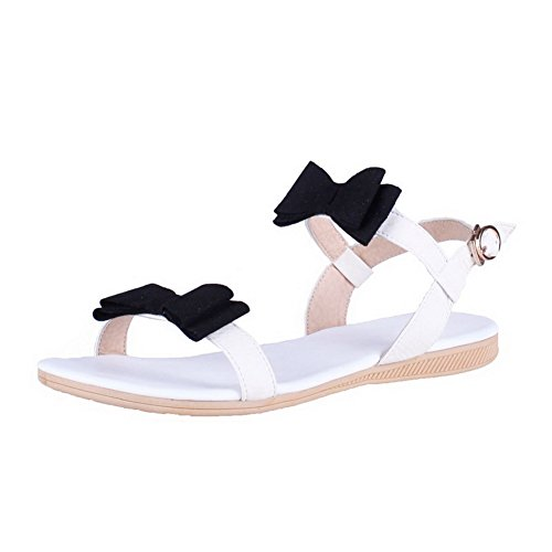 AllhqFashion Womens Open Toe No-Heel Soft Material Assorted Color Buckle Flats-Sandals White qEw8FJJ7
