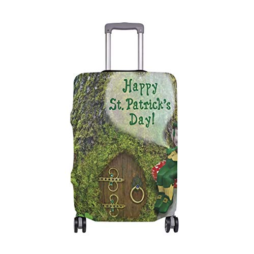 St Patrick's Day Red Mushroom In Front Of Fairy Tree Travel Luggage Cover Suitcase Protector Fits 26-28 Inch Luggage