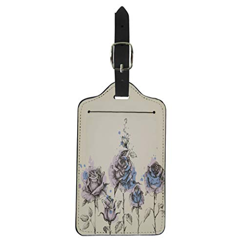 Semtomn Luggage Tag Pink Floral Border Made of Roses and Watercolor Painting Suitcase Baggage Label Travel Tag Labels
