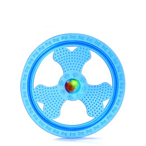 Zelro Soft Flying Disc Dog Sport Toy with Flashing LED Lights, Light Up Pet Frisbee for Catching Floppy Disk Outdoor Night ()