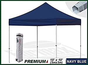 Eurmax Premium 3 x 3 Pop Up Gazebo Aluminum Heavy Duty Marquee Folding Tent With Wheeled Carry Bag (Navy blue)