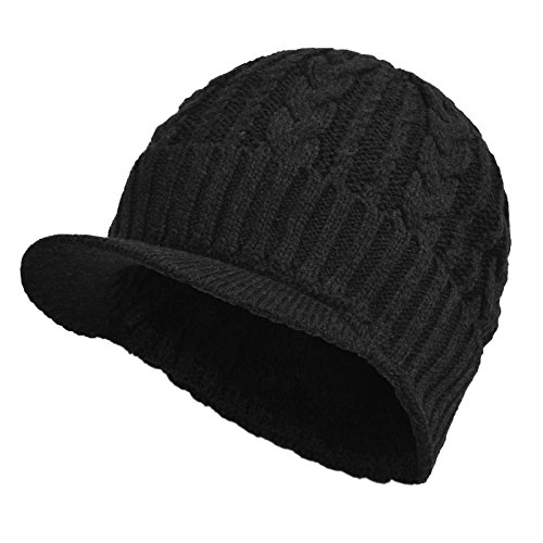 Janey&Rubbins Daily Knit Visor Brim Beanie Hat Fleece Lined Skull Ski Cap (Black-CK) (Fleece Visor Beanie)