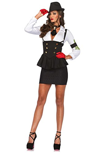 Leg Avenue Women's 3 Piece Machine Gun Molly Gangster Costume, Black/White, Small ()