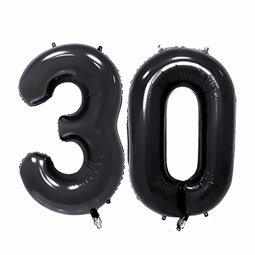 KIYOOMY 40'' Number 30 Balloon Black Large Foil Mylar Number Balloons for 30 Birthday Party Anniversary Celebrate Parties Decorations (Packaged a Number 3 Balloon and a Number 0 Balloon)