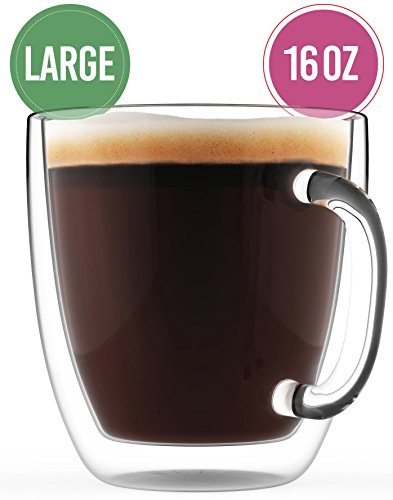 Double Wall Large Coffee Mug 16 oz - Dishwasher & Microwave Safe - Clear, Unique & Insulated Glass with Handle, By Elixir Glassware