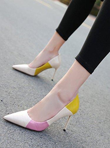Work Mouth Lady Elegant Spring 39 Stitching Beige Sharp Shoes Shallow Heels Leisure MDRW Single Temperament Head 5Cm High 8 81Ewxp