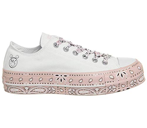 Converse Womens x Miley Cyrus Chuck Taylor All Star Lo Sneaker (White/Pink Dogwood/Black, 9.5 Womens)