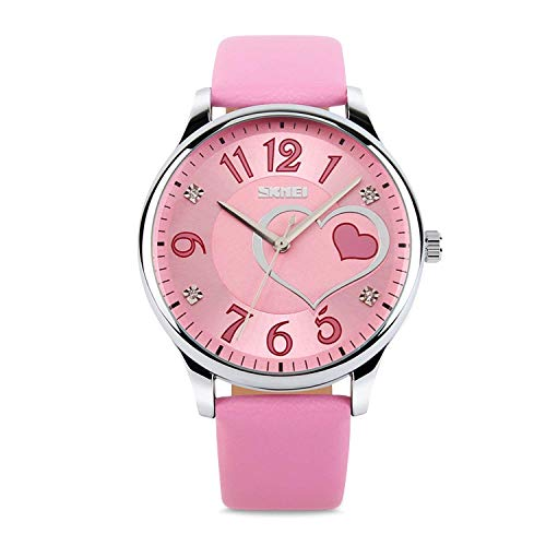 (IJAHWRS Girls Analog Watch, Fashion Lady Quartz Wrist Watch Leather Strap Big Face Fun Cute Watches with Lovely Heart Shape Water Resistant -)