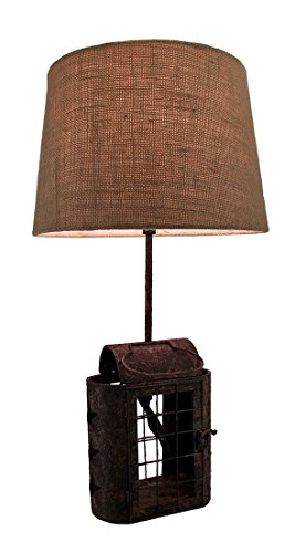 Metal Table Lamps Faux Aged Rust Finish Metal Antique Lantern Lamp W/Burlap Fabric Shade 23 Inch 12 X 22.5 X 12 Inches Rust