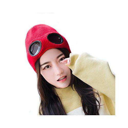 Unisexo Color Sólido Multifuncional Extra Grueso Skullies Gorro de punto Esquiar Sombrero Gorra Con Gafas Y Forro A Prueba De Viento(Rojo)