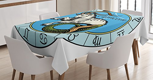 Ambesonne Astrology Decorations Tablecloth, Ancient Illustration of Capricorn Icon with Signs Mythology Greek Saturn Design, Dining Room Kitchen Rectangular Table Cover, 52 X 70 Inches, Blue White