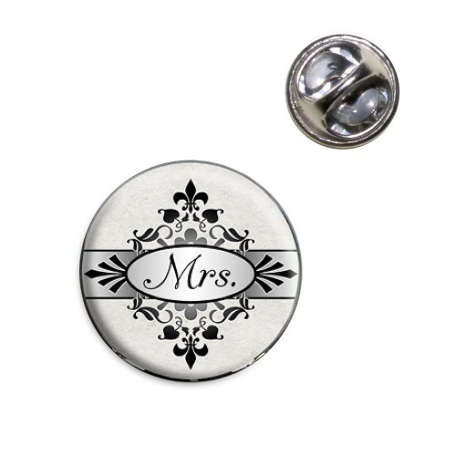 Mrs on Floral Pattern Bride Woman Hers Wife Lapel Hat Tie Pin Tack