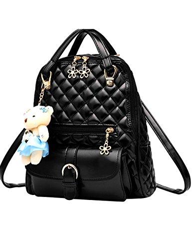 Menschwear Moda Mujer Chica funda mochila escolar bolsa Diamante Azul Negro