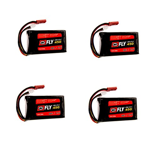 Venom Fly 30C 3S 450mAh 11.1V LiPo Battery with JST Plug x4 Pack Combo - Compare to E-flite EFLB4503SJ30 (450 Mah 3s Lipo Battery compare prices)