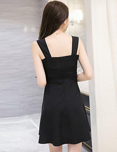 PU&PU Robe Aux femmes Gaine Sexy / Simple,Couleur Pleine Col en V Au dessus du genou Polyester , black-s , black-s