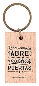 Mr.Wonderful Una Sonrisa Abre Muchas Puertas Llavero, Color Marrón