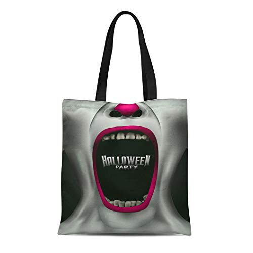 Semtomn Canvas Bag Resuable Tote Grocery Adorable Shopping Portablebags Creepy Scary Clown Scream Freak Halloween Party Autumn Black Blood Bloody Crazy Natural 14 x 16 Inches Canvas Cloth Tote Bag ()