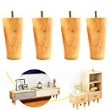 Wood Sofa Legs Furniture Legs Set of 4 Sofa Legs Natural Color H:10cm Diameter:3-5cm Furniture Legs Replacement for Sofa,Couch,Ottoman,Coffee Table
