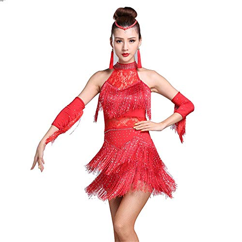 Women's Flapper Dresses Women Halter Rhinestone Lace Tassel Flapper Latin Dance Dress Outfit with Sleeves Adult Rumba Tango Ballroom Dancewear Stage Performance Dance Costume Great Gatsby Dress