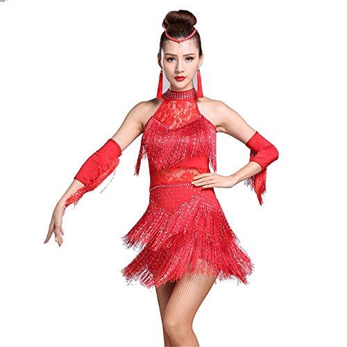Women's Flapper Dresses Women Halter Rhinestone Lace Tassel Flapper Latin Dance Dress Outfit with Sleeves Adult Rumba Tango Ballroom Dancewear Stage Performance Dance Costume Great Gatsby Dress (Dance Adult Halter Dress)