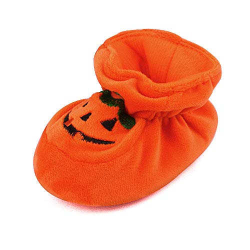 Newborn Baby Boys' Girls' Halloween Pumpkin Bootie Soft Soles Infant Crib Shoes, 6-12 Months Orange -
