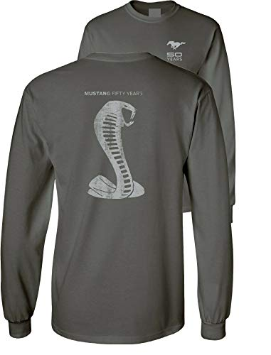 Mustang 50 Years Ford 50 Shelby Gray Snake Long Sleeve TEE F & B, Charcoal, L