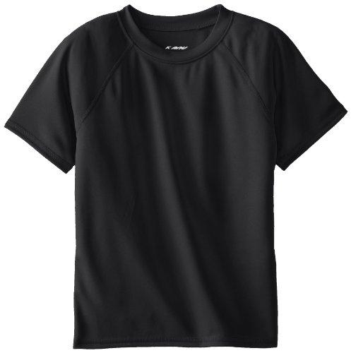 Kanu Surf Toddler Boys' Short Sleeve UPF 50+ Rashguard Swim Shirt, Solid Black, 3T