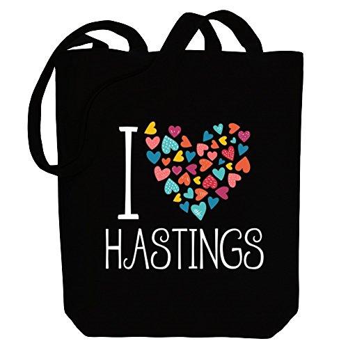 Idakoos I love Hastings colorful hearts - US Städte - Bereich für Taschen