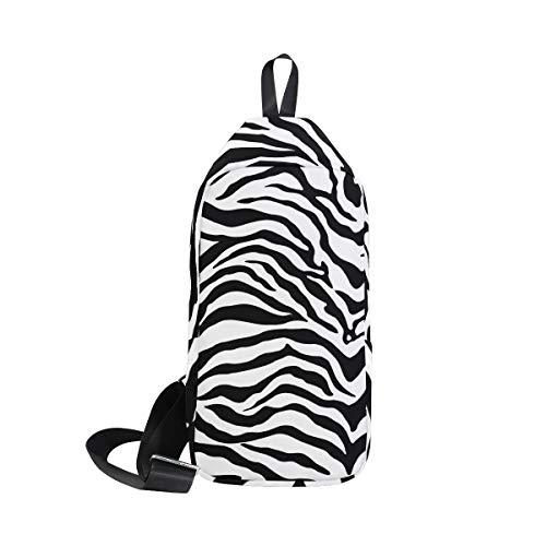 DERLONKAJE Zebra Print Sling Bag Shoulder Chest Cross Body Backpack Lightweight Casual Daypack for Men Women ()