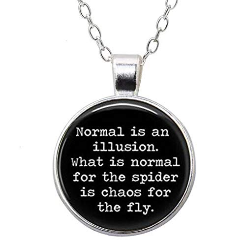 Round 'Normal is an Illusion' Quote Glass Dome Pendant Necklace Spider Fly Addams Family ()