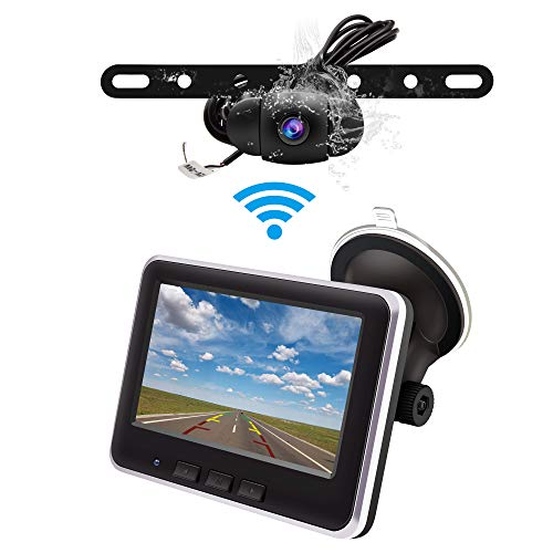 Wireless Backup Camera Monitor Kit,IP68 Waterproof License Plate Reverse Rear View Back Up Car Camera,4.3 TFT LCD Rear View Monitor for Cars, SUV, Pickup